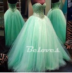 "Fabric:Tulle Neckline:Sweetheart Color:Mint+Green Silhouettes:+Ball+Gown+ Back+Detail:Zipper+Back Embellishments:Crystals,Beading Occasion:+Prom+,Evening,Cocktail++++++ Custom+Made+:+We+also+accept+custom+made+size+and+color+.+Please+click+the+""contact+us+""and+send+your+size+and+color+to+o..."