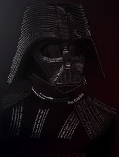Darth Vader and the words woven into his fabric.