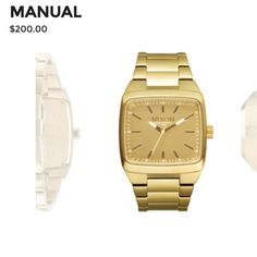 Nixon gold manual watch Like new gold Nixon watch. Can be unisex. No scratches to face! Nixon Accessories Watches