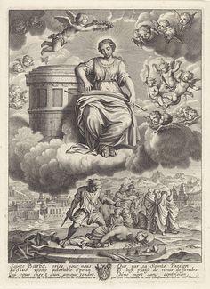 Michel Natalis   Dood van de heilige Barbara, Michel Natalis, Guillaume Natalis, 1620 - 1668   De heilige Barbara ligt onthoofd op de grond. Zij is gedood door haar vader Dioscuros, die naast haar staat met zijn zwaard. Een aantal mannen en twee soldaten te paard kijken toe. Op de achtergrond een stad in een landschap. Bovenaan troont Barbara op de wolken, een palmtak op haar schoot, de toren met drie ramen naast haar. In de lucht cherubijnen en putti. Barbara wordt door een putto van hen…
