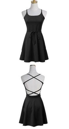 Square Criss-Cross Dresses,Straps Polyester Dresses,Little Black Dresses