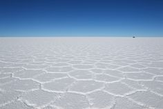 Salar De Uyuni when dry. Maybe use as the cover and open to how it looks when wet?