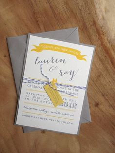 Yellow and Gray wedding invitations are just the right combo.