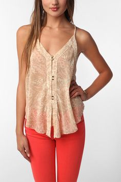 Coral jeans and nude top