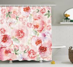 Amazon.com: Ambesonne Watercolor Flower Decor Collection, Soft Colored Pale Faded Mix of Roses Vintage Style Romantic Dream Painting , Polyester Fabric Bathroom Shower Curtain Set with Hooks, Pink Green: Home & Kitchen