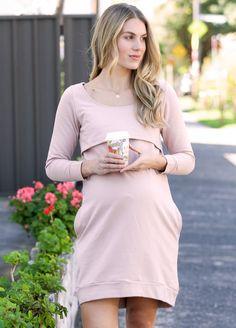 Trimester® - Winter Mama Journey Fleece Dress in Pink Maternity Pads, Maternity Nursing Dress, Nursing Pads, Pre Pregnancy, Fleece Fabric, Designer Dresses, Journey, Winter, Casual
