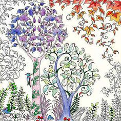 "Secret Garden colouring book for adults :: The charming, intricate coloring book features tons of hidden little details to find in the illustrations, like ""rogue butterflies and curious squirrels,"" making for an inky treasure hunt."