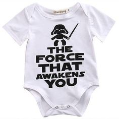 """""""The Force that Awakens You"""" Onesie Every new parents can relate to babies being incredible alarm clocks (at all the wrong times). This funny, Star Wars parody baby one-piece features the text """"The Force That Awakens You"""" for your new little one! Perfect of Star Wars fans, gifts for new parents, baby shower gifts, and baby shower ideas! www.babypotter.com"""