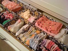 Custom Nursery Art by Kimberly: Nursery Organization–desk organizers in drawer - Baby Dress Sock Organization, Organizing Hacks, Nursery Organization, Clothing Organization, Nursery Art, Girl Nursery, Nursery Ideas, Baby Drawer, Trendy Baby Clothes