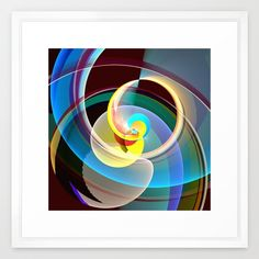 Modern colourful abstract with circles in motion Framed Art Print