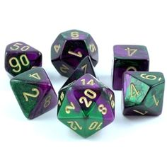 RPG Dice Set (Gemini Green and Purple) role playing game dice
