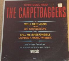 The Wyncote Orchestra And Chorus Theme Music From The Carpetbaggers Sealed Vinyl Record Album by RASVINYL on Etsy