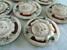 Victorian Mother of Pearl deeply carved Buttons with Steels.