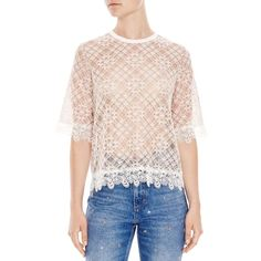 Sandro Hana Lace Top (425 CAD) ❤ liked on Polyvore featuring tops, beige, lacy tops, lace top, sandro, beige top and pink top