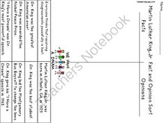 Martin Luther King Fact and Opinion Sort from Loving Life in Second Grade on TeachersNotebook.com -  (3 pages)  - I made this simple printable sort with facts and opinions about Dr. Martin Luther King, Jr. and thought I would share it with you. Just print and students can cut and glue on the same sheet. My students are really enjoying learning about Dr. King right no