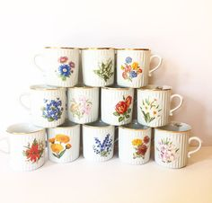 Flower of the Month Vintage Tea Cup Mug  Birth by BeauTeaStudio
