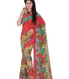 Buy Red Printed Dani saree with blouse jacquard-saree online