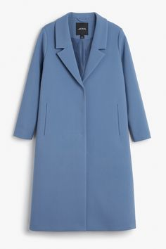 Monki Image 1 of Classic long coat in Blue
