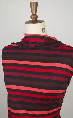 Striped viscose jersey fabric