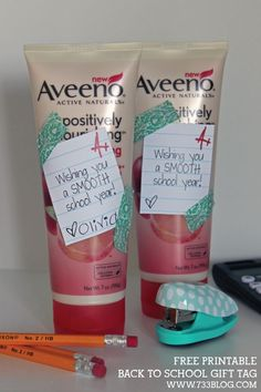"""Print this free printable Back to School Gift Tag and place it on lotion, or something else """"smooth"""" related!"""