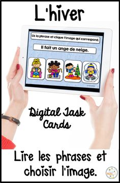 Cartes numériques, digitales et auto-correctrices. Lis la phrase et choisis la bonne image. French digital task cards to read the sentence and pick the corresponding image. French boom cards. Ideal for french immersion. French Winter. Hiver French Teaching Resources, Teaching French, Teacher Resources, Bilingual Classroom, Learning Cards, Core French, French Classroom, Teacher Boards, French Teacher