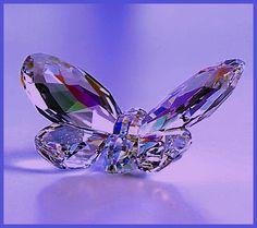 Crystal motýľ - modré pozadie, krištáľovo motýľ, svetlo, odrazy