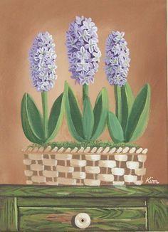 Hyacinth Original Floral Still Life Art Print by Kim's Cottage Art