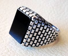men's ring black natural rectangular flat onyx black agate