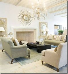 Lovely cream living room sofa and chairs