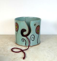 Yarn Bowl Hand Painted Whimsical Floral