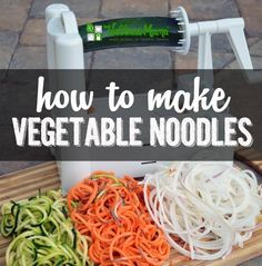 Make vegetable noodles with or without a spiralizer from carrots, parsnips, sweet potatoes, turnips, broccoli and more with this simple tutorial. Carrot Noodles, Mushroom Broccoli, Vegetable Noodles, Wellness Mama, Spiralizer Recipes, Eat To Live, Pasta Noodles, Noodle Recipes, Paleo Recipes