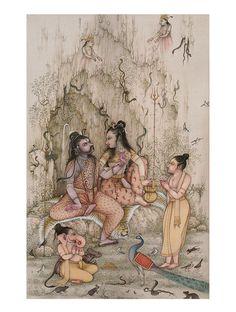 Kali Goddess, Goddess Art, Shiva Art, Shiva Shakti, Mughal Miniature Paintings, Durga Painting, Lord Ganesha Paintings, India Art, Indian Gods
