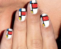 De Stijl Nail-Art Tutorial- now if we can just do this in our Cuckoo colours..