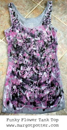 iLoveToCreate Blog: iLoveToCreate Teen Crafts: Funky Flower Tank Top