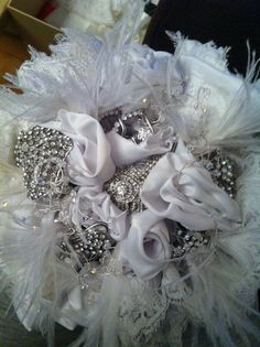 Shabby Chic Bridal Wedding Brooch Bouquet with by FlorioDesigns, £150.00