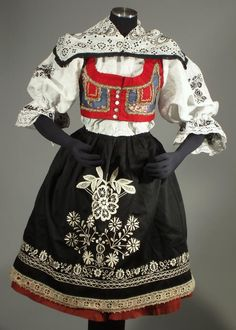 CZECH FOLK COSTUME old Kyjov kroj embroidered blouse apron skirt vest Moravian