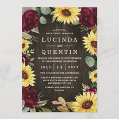 Sunflower Themed and Burgundy Red Rose Wedding Invitation Sunflower Wedding Invitations, Burgundy Wedding Invitations, Country Wedding Invitations, Wedding Invitation Design, Sunflower Weddings, Wedding Stationery, Red Sunflower Wedding, Sunflowers And Roses, Red Roses