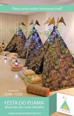 Jay D'Event Stylist By:arncamugao design. Boy Sleepover, Sleepover Birthday Parties, Teepee Party, Party Themes For Boys, Camping Parties, Pajama Party, Childrens Party, Kids Decor, Teepees