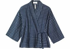 Kimono wrap-top in a soft, lightweight cotton ikat check. Dropped shoulders and wide, below elbow-length sleeves. Fastening at the front with a tie at each side.