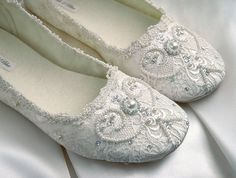 Rachel Bridal Shoes, Wedding Ballet Flat, Vintage Lace, Swarovski Crystals, Pearls, Custom Made Women's Bridal Shoes From pink2blue