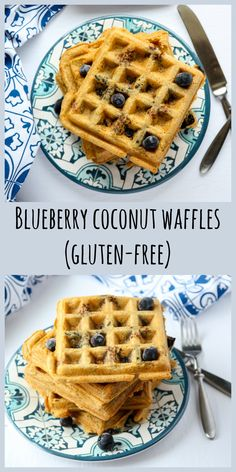 Blueberry Coconut Waffles made with coconut flour and coconut oil. A light, crisp, gluten free waffle recipe with extra protein. Coconut Flour Waffles, Coconut Flour Recipes, Coconut Oil, Almond Flour, Gluten Free Waffles, Gluten Free Recipes For Breakfast, Paleo Breakfast, Breakfast Ideas, Free Breakfast