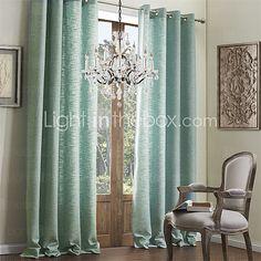 modernos dois painéis sólido azul sala de estar cortinas de linho faux cortinas - USD $105.99
