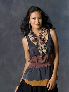 artistic scarf free pattern for Red Heart Boutique Magical yarn.