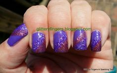 Glittery Fingers & Sparkling Toes: Purple and Pink Glitter French Tip Glitter French Tips, Creative Nails, Pink Glitter, Pretty Nails, Fingers, Atlanta, Nail Designs, Sparkle, Nail Art