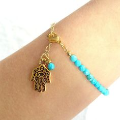 Turquoise Bracelet with Hamsa Hand Charm, beaded bracelet, bohemian jewelry