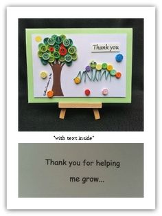 Caterpillar thank you card for a teacher with text inside made by Quilled Creations by Me.