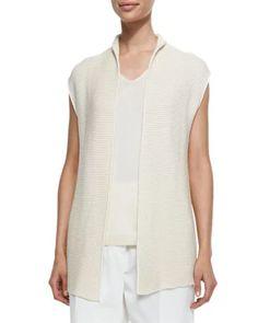 Silk-Blend Santiago Stitched Vest, Spelt Ivory