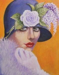 a glamorous and vintage lady. Original acrylic fantasy vintage lady painting on canvas, 11'x14'.... Often a photo or a painting of a beautiful lady is just that, however, I hope I have achieved more like expressing a soul, mystery, expression and ...