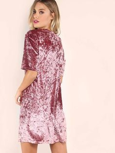 Online shopping for Velvet T-shirt Dress PINK from a great selection of women's fashion clothing & more at MakeMeChic.COM.