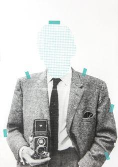Siebdruck - KLEINKARIERT Siebdruck Collage A3 Poster Mann Home - ein Designerstück von Morkebla bei DaWanda